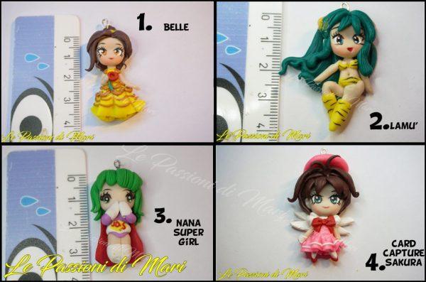 Chibi Belle- Lamù - Nana supergirl- Card capture sakura Pendant Polymer clay