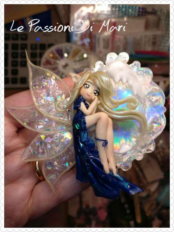 Winter Snow Fairy Frame Cameo handmade polymer clay, fimo