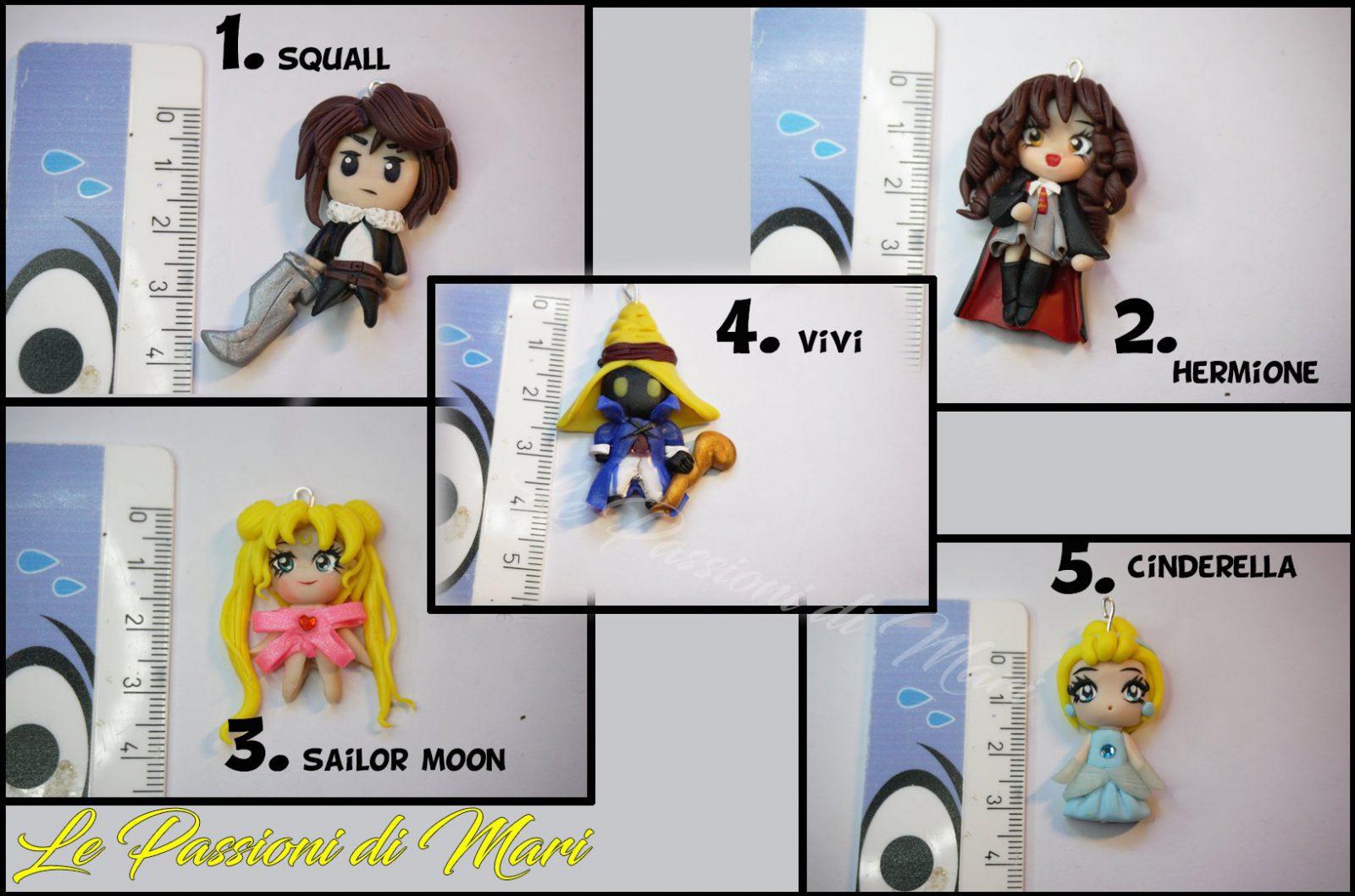 Chibi Squall- Hermione - sailor moon- Vivi - Cinderella Pendant Polymer clay