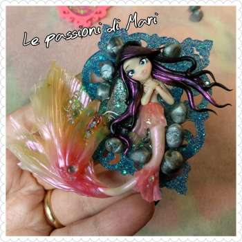 Mermaid frame handmade polymerclay OOAK