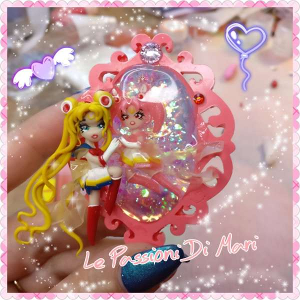 Sailor Moon And SailorChibi moon cameo frame handmade polymer clay