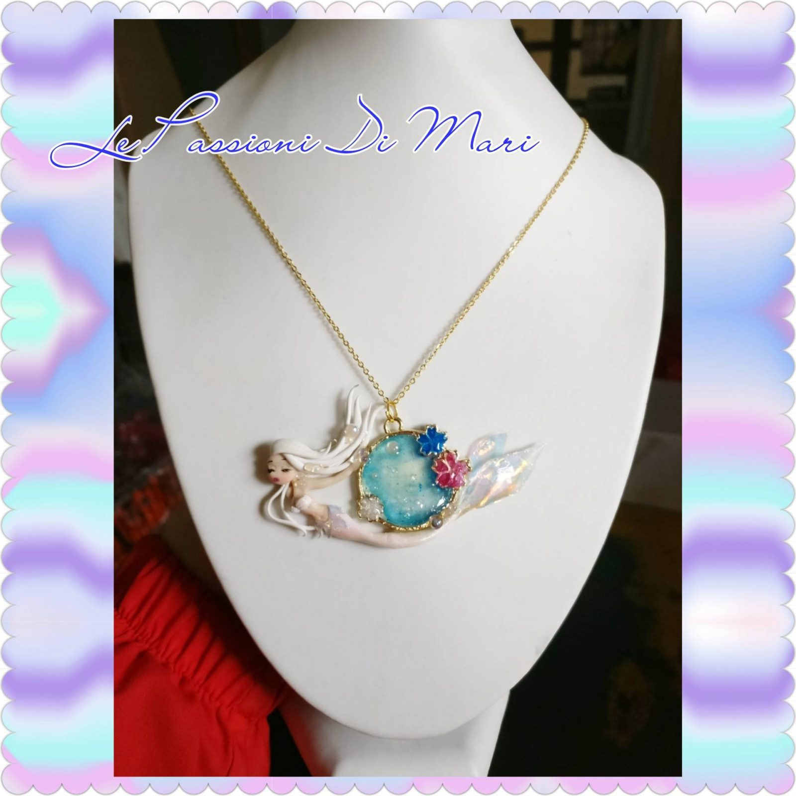 Mermaid bezel necklace handmade