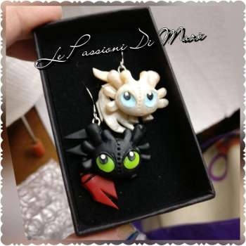 Handmade Toothless and his new love. Dragon Trainer Earrings MADE TO ORDER