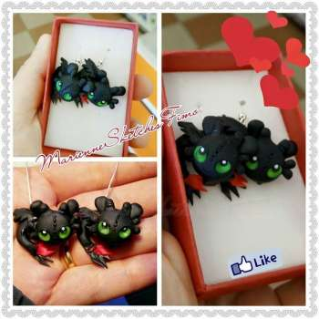 Handmade Toothless Dragon Trainer Earrings MADE TO ORDER