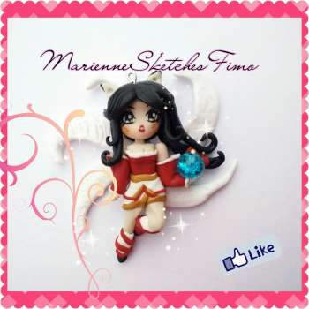 Handmade League of Legends Ahri Chibi Polymer Clay on demand