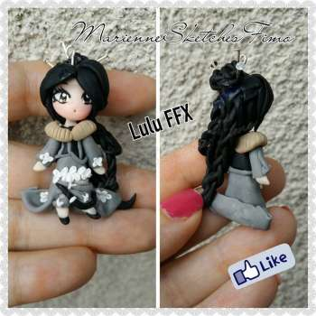 Pendant Chibi Lulu Final Fantasy X Handmade Polymer Clay ON DEMAND
